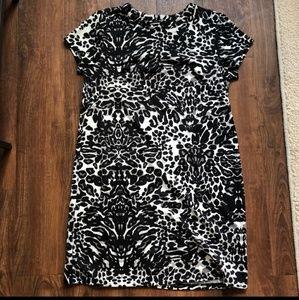 Dresses & Skirts - Leopard Print Short Sleeve Shift Dress, S